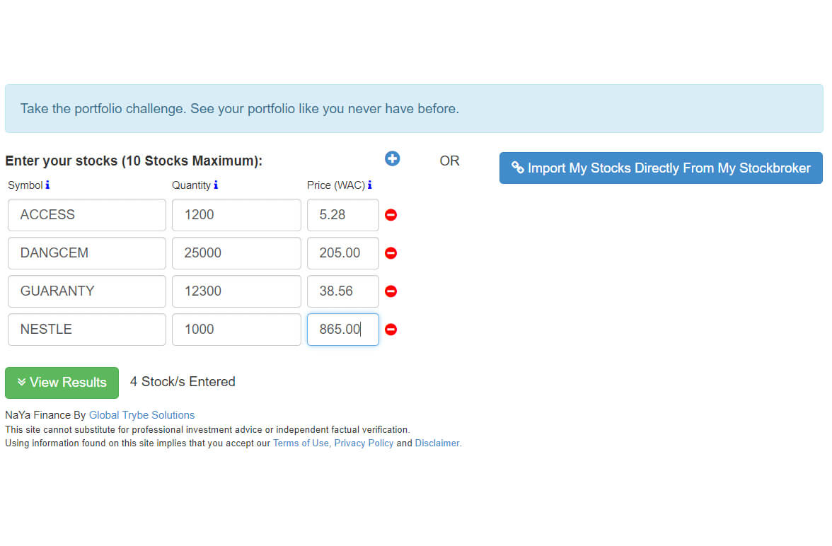 NaYa Finance Portal View showing various Portfolios